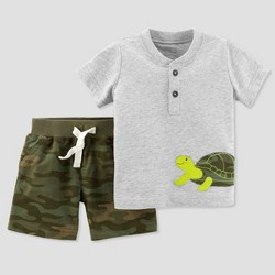 Baby Boys' 2pc Camo Turtle Shorts Set - Just One You™ Made by Carter's® Green