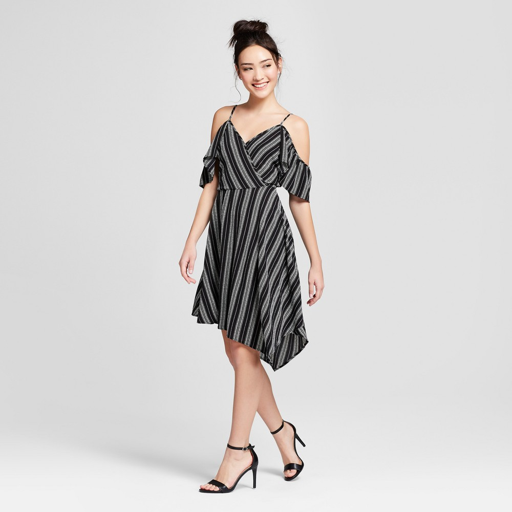 Image of Women's Striped Cold Shoulder Asymmetrical Hem Wrap Dress - Xhilaration Black XS