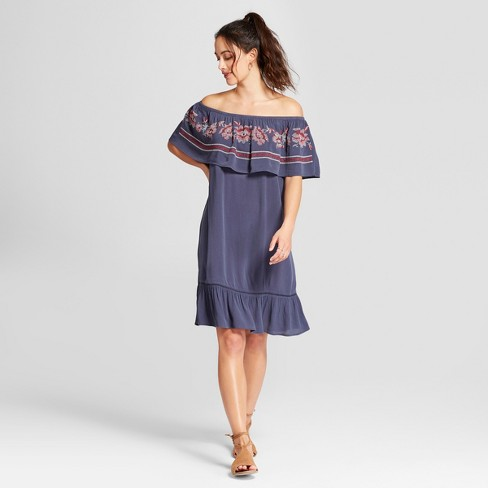 Women's Cross Stitch Embroidered Off the Shoulder Dress - Knox Rose™ Slate Blue - image 1 of 2