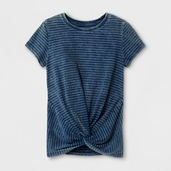 Girls' Striped Short Sleeve T-Shirt - art class™ Indigo