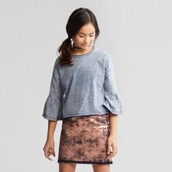 Girls' Raw Edge Bell Sleeve T-Shirt - art class™ Indigo