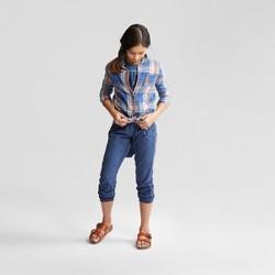 Girls' Front Tie Plaid Long Sleeve Top - art class™ Blue