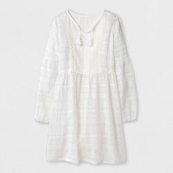 Girls' Long Sleeve Woven Dress - art class™ White