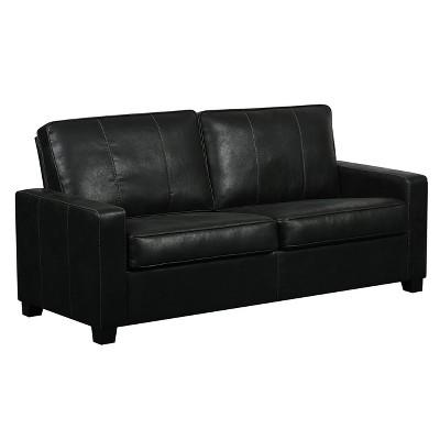 Urban Eclipse Faux Leather Two Cushion Sofa   Black   Pulaski