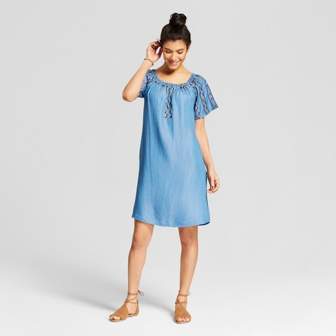 Women's Embroidered Chambray Dress - Knox Rose™ Indigo - image 1 of 2