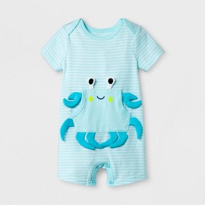Baby Boys' Short Sleeve Striped Romper with Kangaroo Pocket - Cat & Jack™ Blue 12M