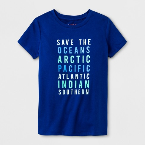 Girls' Save The Oceans Graphic Short Sleeve T-Shirt - Cat & Jack™ Blue - image 1 of 1