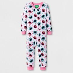 Toddler Girls' Cookie Monster/Elmo Blanket Sleeper - White/Blue/Red