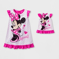 Toddler Girls' Minnie Mouse Dorm Night Gown - Pink/White