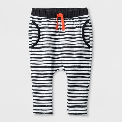 Baby Boys' Stripe Joggers with Critter on the Bottom - Cat & Jack™ White