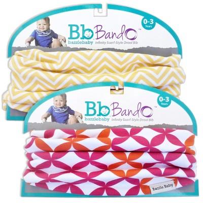 Bazzle Baby 2pk Bando Bib - Bright Petals & Chevron