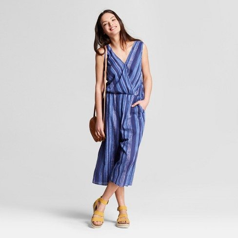 Women's Striped Wrap Front Jumpsuit - Universal Thread™ - image 1 of 3