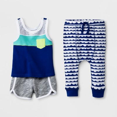 Baby Boys' 3pc Tank Top, Joggers and Shorts Set - Cat & Jack™ Blue 0-3M