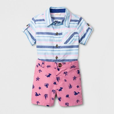 Baby Boys' 2pc Button Down Short Sleeve Shirt and Chino Shorts Set - Cat & Jack™ Blue/Pink 0-3M