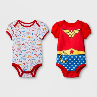 Warner Bros. Toddler Girls' Wonder Woman 2pk Short Sleeve Bodysuit - Red 0-3M