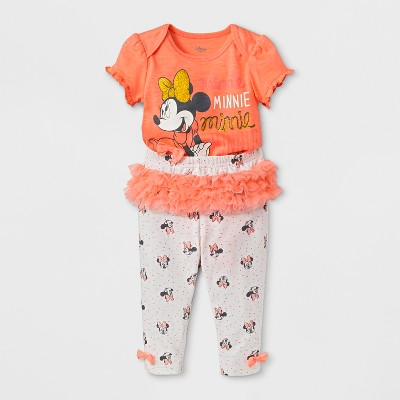 Baby Girls' Disney Mickey Mouse & Friends Minnie Mouse Short Sleeve Bodysuit and Leggings Set with Ruffles - Pink 18M