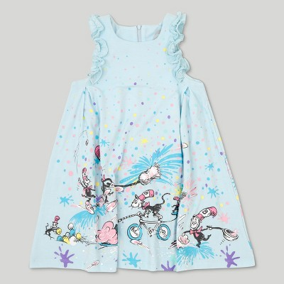 Dr. Seuss Toddler Girls' Cat in the Hat Sleeveless Dress - Ice Blue 5T