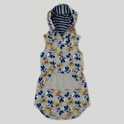 Toddler Girls' Disney Mickey Mouse Sleeveless Hooded Dress - Heather Grey 12 Months