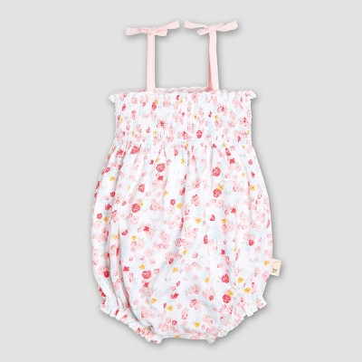 Burt's Bees Baby Girls' Organic Cotton Ditsy Floral Bubble Romper - Pink 6-9M