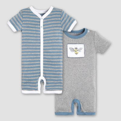 Burt's Bees Baby Boys' Organic Cotton 2pk Watercolor Bee Shortalls - Blue/Gray 0-3M