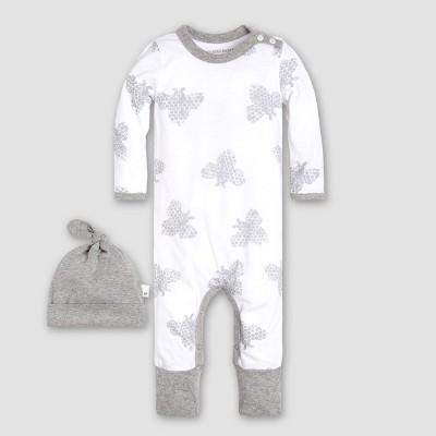 Burt's Bees Baby Boys' Organic Cotton Honey Bee Coverall & Hat Set - White/Gray 6-9M