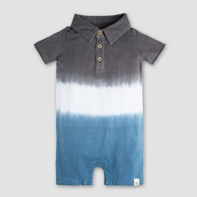 Burt's Bees Baby Boys' Organic Cotton Dip Dye Polo Shortall - Gray/Blue 0-3M