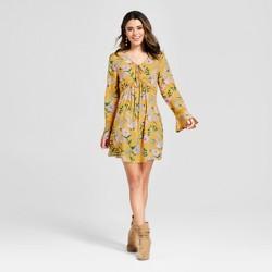 Women's Floral Print Long Sleeve Bell Babydoll Dress - Xhilaration™