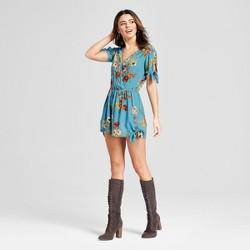 Women's Floral Print Tie Front V-Neck Short Sleeve Romper - Xhilaration™