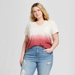 Women's Plus Size Monterey Pocket V-Neck Short Sleeve T-Shirt - Universal Thread™ Pink Dip Dye