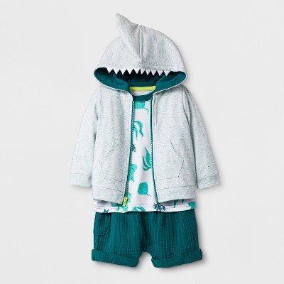 Baby Boys' 3pc Set Hooded Sweatshirt, Short Sleeve T-Shirt, and Shorts - Cat & Jack™ Teal 0-3M