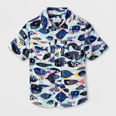 Toddler Boys' Button Down Short Sleeve Shirts - Cat & Jack™ Aqua 2T