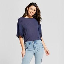 Women's Short Sleeve Drop Shoulder Eyelet T-Shirt - Xhilaration™