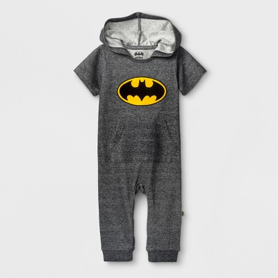 DC Comics Baby Boys' Batman Short Sleeve Hooded Romper - Charcoal Heather 12M