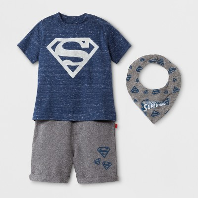 DC Comics Baby Boys' Superman 3pc Short Sleeve T-Shirt, Shorts, and Bib - Navy/Medium Heather Gray 0-3M