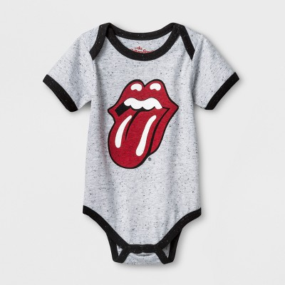 The Rolling Stones Logo Baby Boys' Short Sleeve Bodysuit - Light Heather Gray Newborn