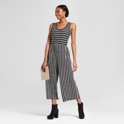 Women's Striped Knit Crop Jumpsuit - Xhilaration™ Black