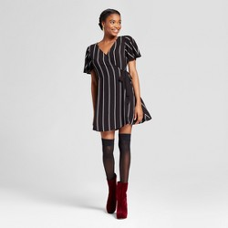 Women's Striped Short V-Neck Dress - Xhilaration™ Black