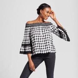 Women's Gingham Long Sleeve Over The Shoulder Woven Top - Xhilaration™ Black