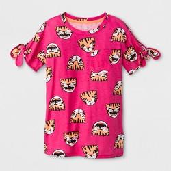 Girls' Tiger Print Tie Sleeve T-Shirt - Cat & Jack™ Pink