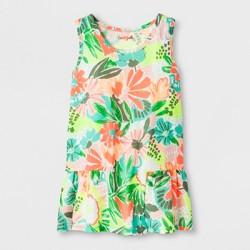 Girls' Floral Print Knit Peplum Tank Top - Cat & Jack™ Shiny Green