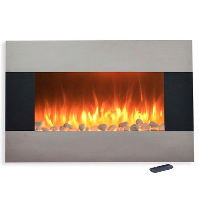 Stainless Steel Electric Fireplace With Wall Mount And Floor Stand And Remote- 36  - Northwest