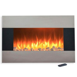 """Stainless Steel Electric Fireplace With Wall Mount And Floor Stand And Remote- 36"""" - Northwest"""