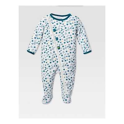 Lamaze Baby Boys' Organic Stars Asymmetrical Zip Sleep N Play - White 3M