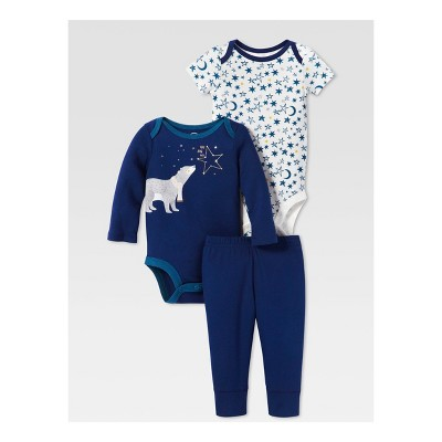 Lamaze Baby Boys' Organic Bear & Stars 3pc Bodysuit Pants Set - Blue 3M