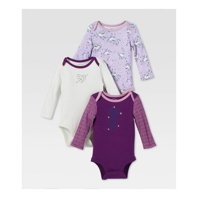 Lamaze Baby Girls' Organic You Are Beautiful 3pk Long Sleeve Bodysuit Set - Purple 3M