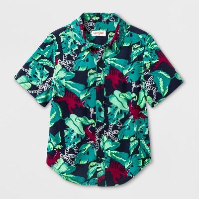 Toddler Boys' Button Down Short Sleeve T-Shirt - Cat & Jack™ Navy 18 M