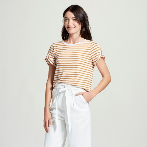 Women's Striped Short Sleeve Ruffle T - Shirt - A New Day™ - image 1 of 3