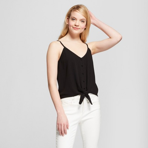 Women's Tie-Front Button Down Cami - Mossimo Supply Co.™ Black - image 1 of 2