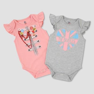 Junk Food Baby The Beatles 2pk Ruffle Sleeve Short Sleeve Bodysuit - Pink/Gray 9M