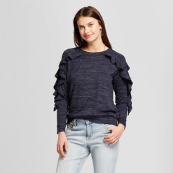Women's Marled Ruffle Sleeve Pullover Sweater - August Moon Blue/Black